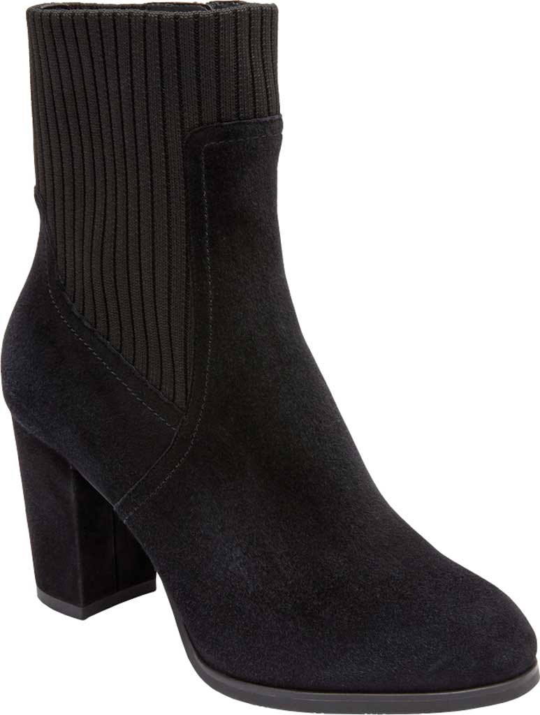 Women's Vionic Kaylee Ankle Bootie, Black Knit/Suede, large, image 1