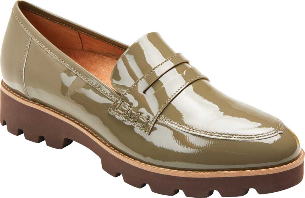 Women's Vionic Cheryl Penny Loafer, Olive Patent Leather, large, image 1