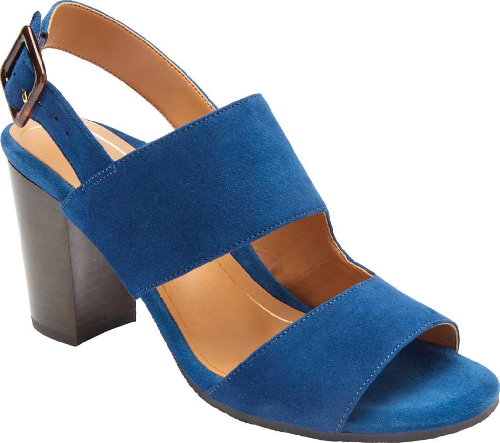 Women's Vionic Bianca Backstrap Heeled Sandal, Dark Blue Suede, large, image 1