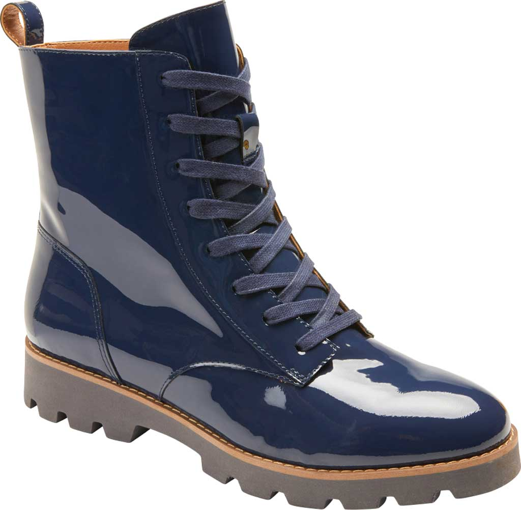 Women's Vionic Lani Lace Up Ankle Boot, Navy Patent Leather, large, image 1