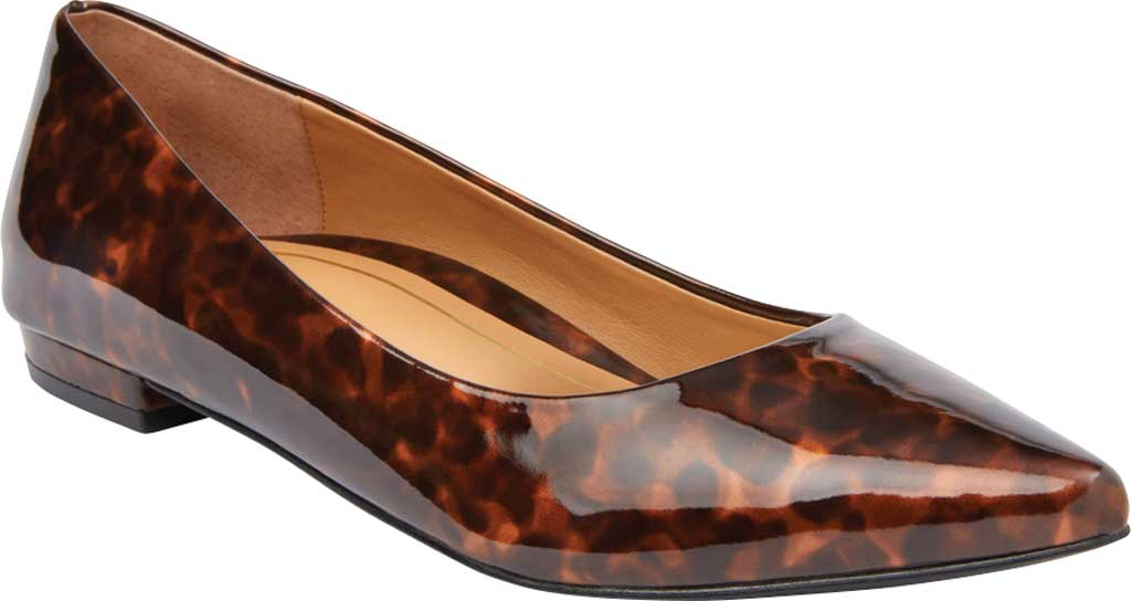 Women's Vionic Lena Pointed Toe Ballet Flat, Tortoise Patent/Synthetic, large, image 1