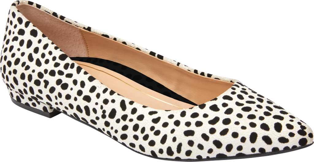 Women's Vionic Lena Pointed Toe Ballet Flat, White/Black Spot Suede, large, image 1