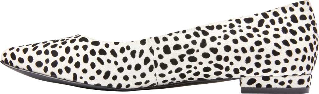Women's Vionic Lena Pointed Toe Ballet Flat, White/Black Spot Suede, large, image 3