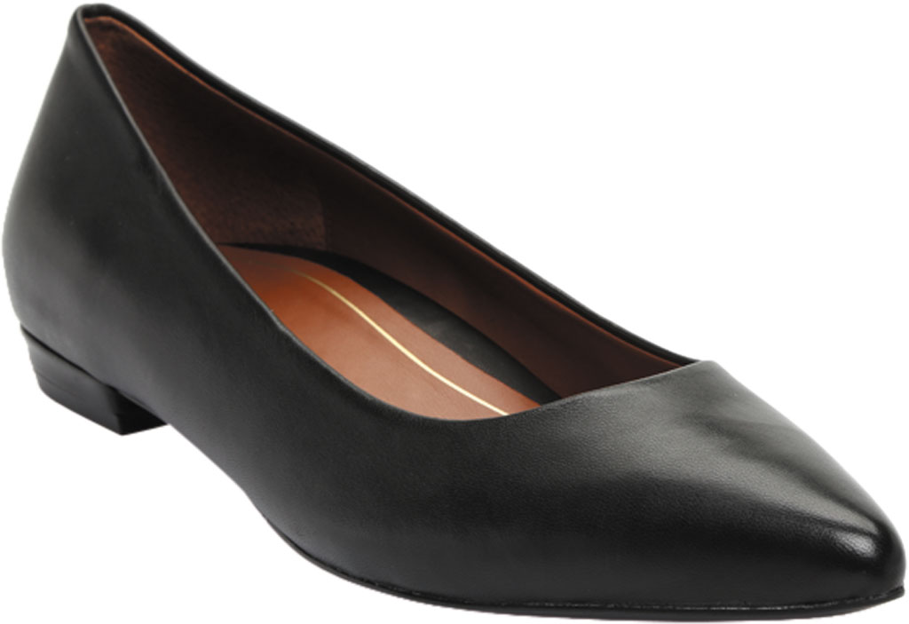 Women's Vionic Lena Pointed Toe Ballet Flat, Black Nappa Leather, large, image 1