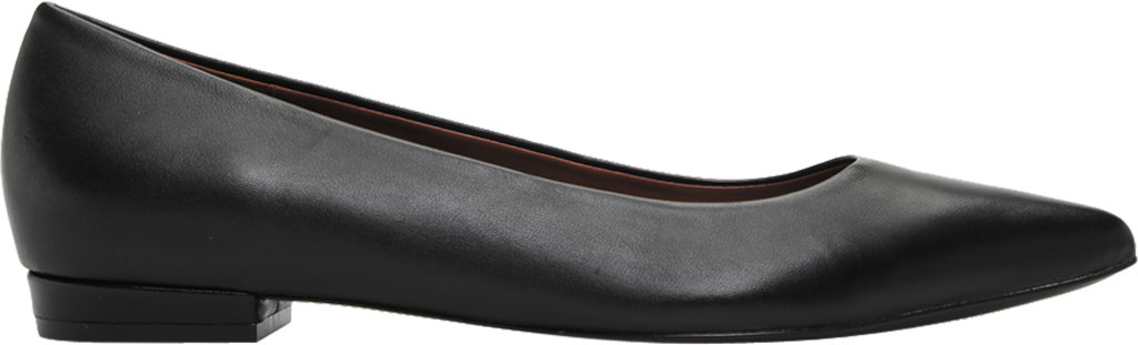 Women's Vionic Lena Pointed Toe Ballet Flat, Black Nappa Leather, large, image 2