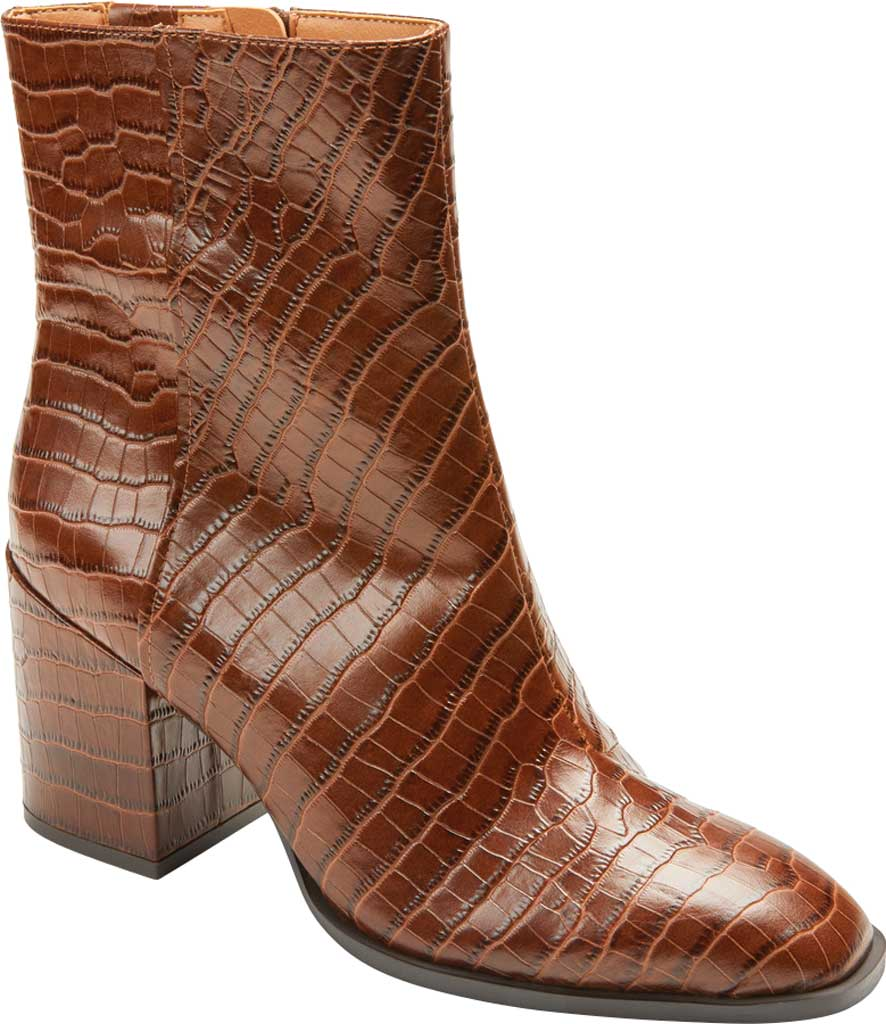 Women's Vionic Harper Ankle Bootie, Brown Croc Leather, large, image 1