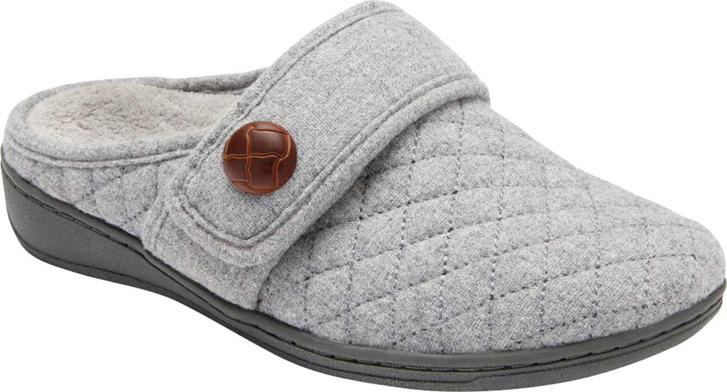 Women's Vionic Carlin Mule Slipper, Light Grey Quilted Flannel, large, image 1
