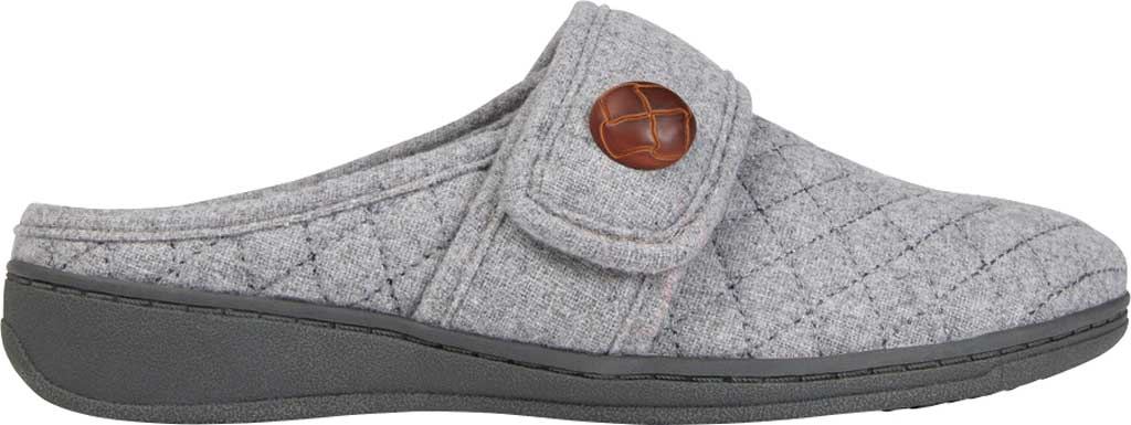 Women's Vionic Carlin Mule Slipper, Light Grey Quilted Flannel, large, image 2