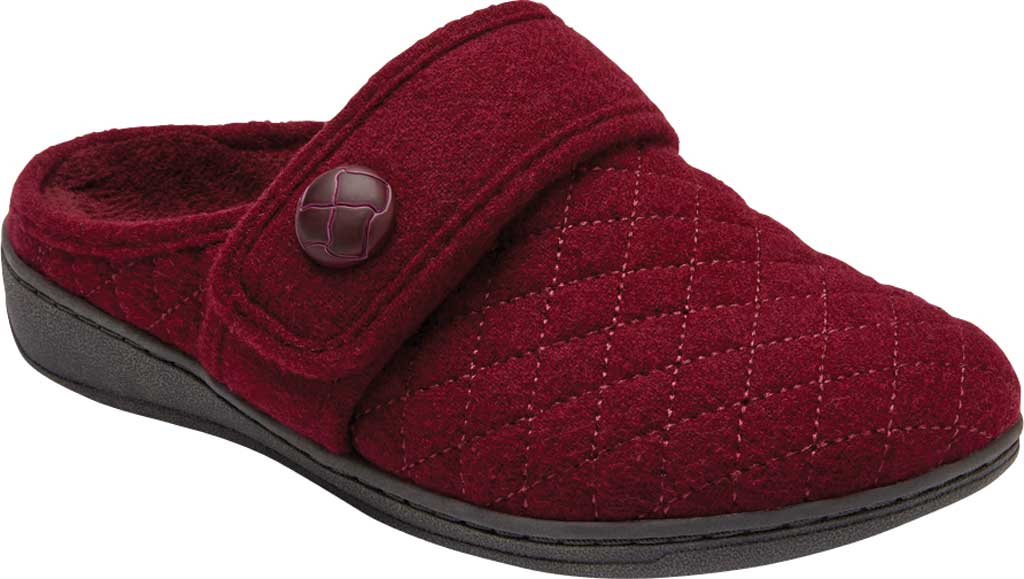 Women's Vionic Carlin Mule Slipper, Wine Quilted Flannel, large, image 1