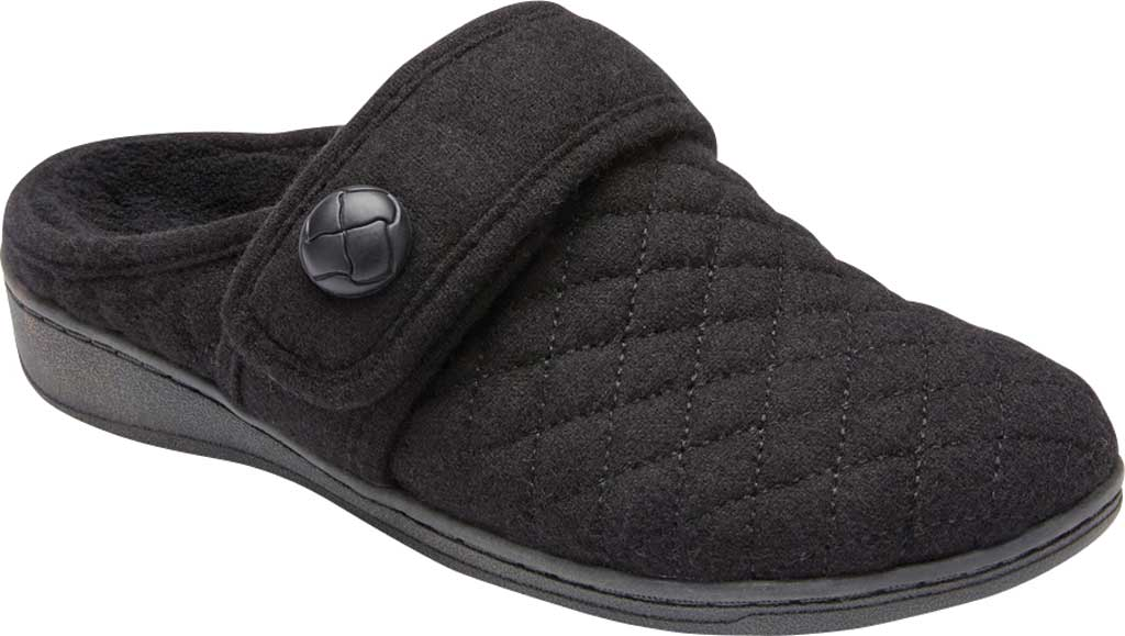 Women's Vionic Carlin Mule Slipper, Black Quilted Flannel, large, image 1