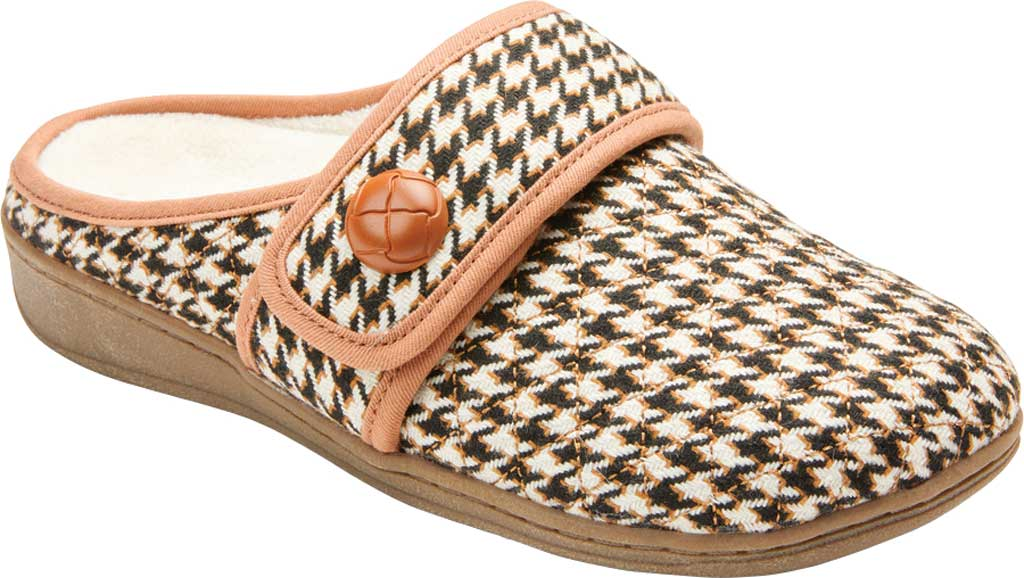 Women's Vionic Carlin Mule Slipper, Cream Houndstooth Quilted Fabric, large, image 1
