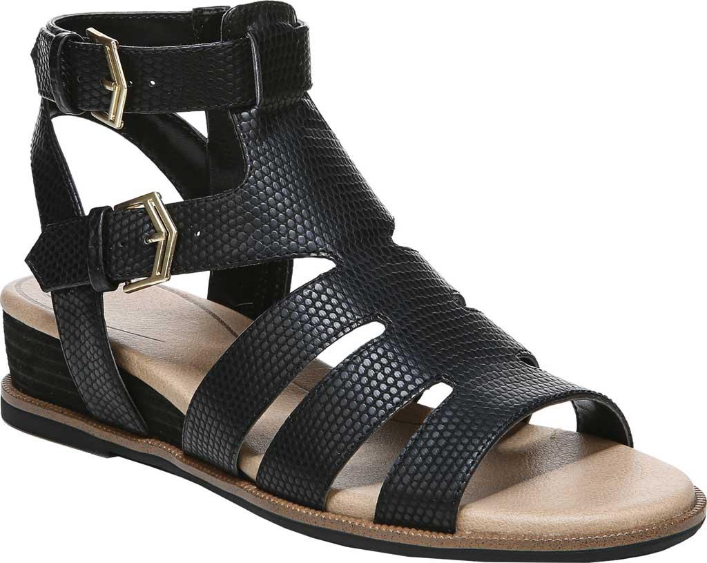 Women's Dr. Scholl's Friday Wedge Gladiator Sandal, Black Snake Faux Leather, large, image 1