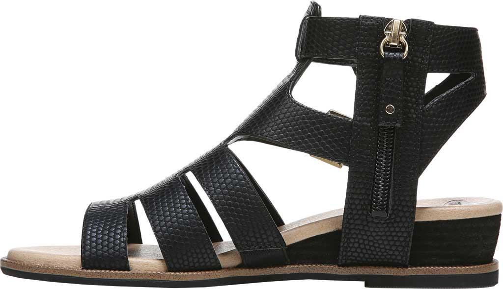 Women's Dr. Scholl's Friday Wedge Gladiator Sandal, Black Snake Faux Leather, large, image 3