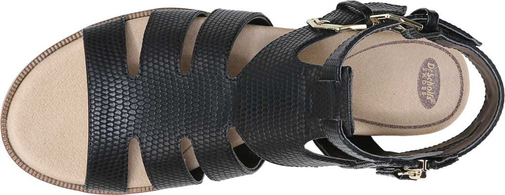 Women's Dr. Scholl's Friday Wedge Gladiator Sandal, Black Snake Faux Leather, large, image 5