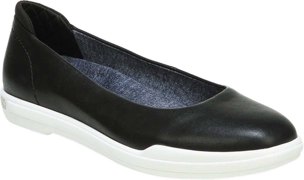 Women's Dr. Scholl's Rise Shine Ballet Flat, Black Smooth Faux Leather, large, image 1
