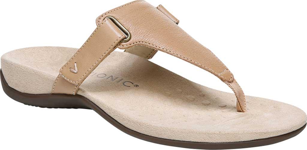 Women's Vionic Wanda T Strap Thong Sandal, Macaroon Smooth Leather, large, image 1