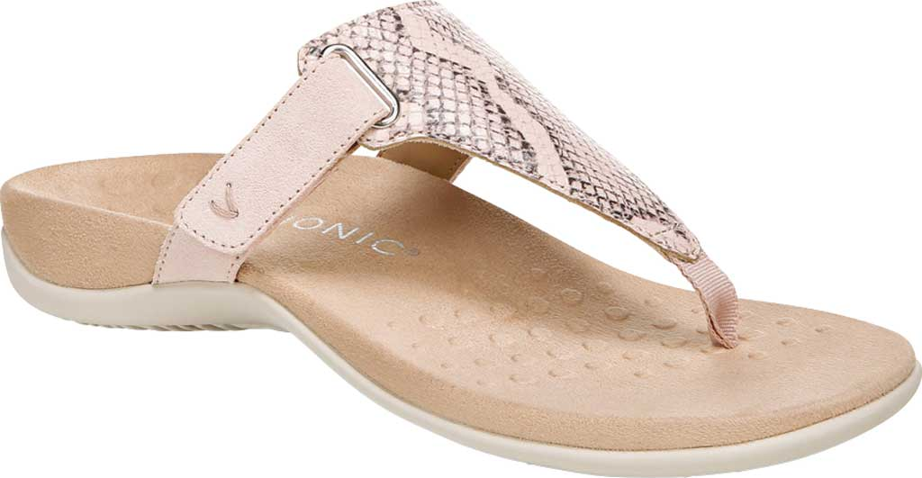 Women's Vionic Wanda T Strap Thong Sandal, Pale Blush Embossed Snake Leather, large, image 1