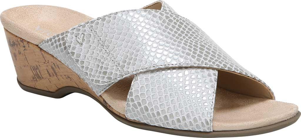 Women's Vionic Leticia Wedge Slide, Aluminum Lizard Print Leather, large, image 1