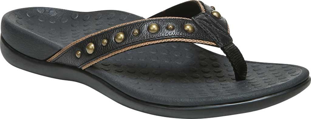 Women's Vionic Vanessa Thong Sandal, Black Studded Leather, large, image 1