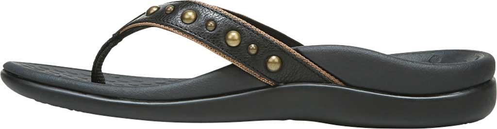 Women's Vionic Vanessa Thong Sandal, Black Studded Leather, large, image 3
