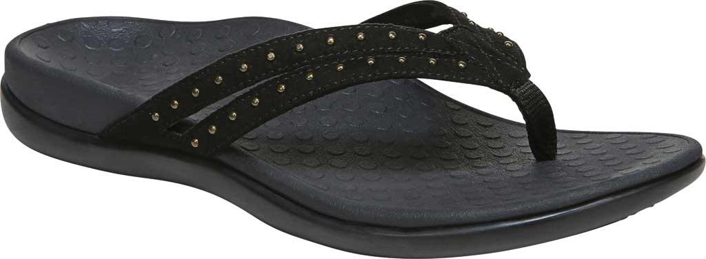 Women's Vionic Tasha Thong Sandal, Black Microfiber Fabric, large, image 1