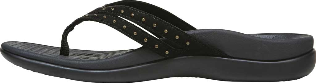 Women's Vionic Tasha Thong Sandal, Black Microfiber Fabric, large, image 3