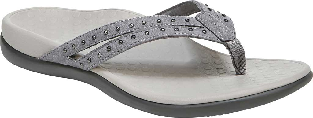 Women's Vionic Tasha Thong Sandal, Slate Grey Microfiber Fabric, large, image 1
