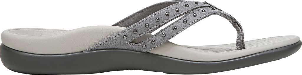 Women's Vionic Tasha Thong Sandal, Slate Grey Microfiber Fabric, large, image 2
