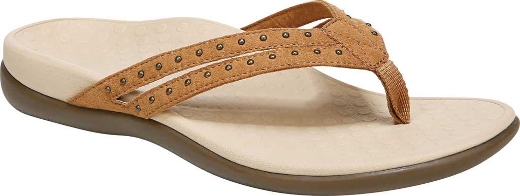 Women's Vionic Tasha Thong Sandal, Toffee Microfiber Fabric, large, image 1