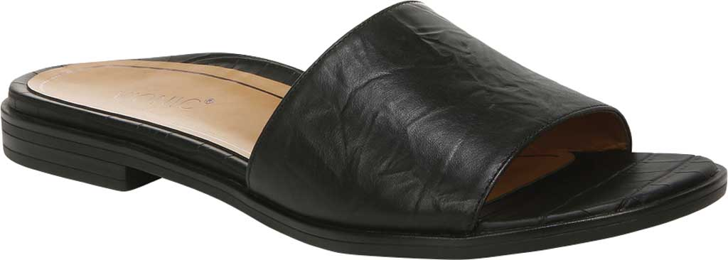 Women's Vionic Demi Slide, Black Crinkle Croco Leather, large, image 1