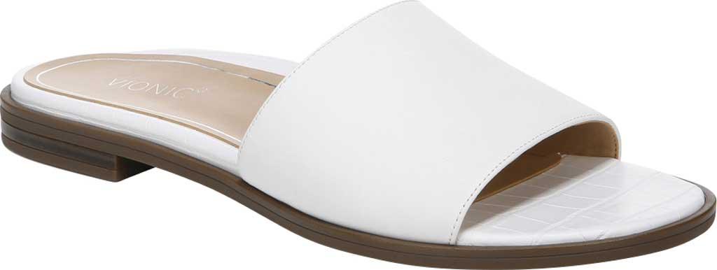 Women's Vionic Demi Slide, White Crinkle Croco Leather, large, image 1