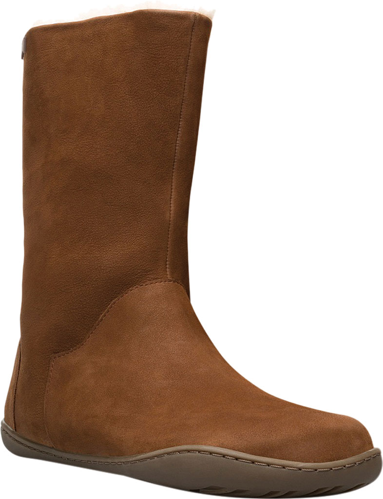 Women's Camper Peu Cami Mid Calf Boot, Medium Brown Leather, large, image 1