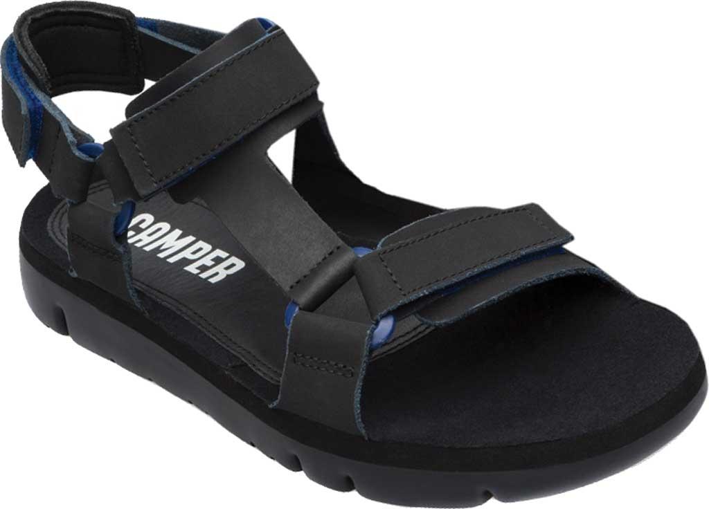 Men's Camper Oruga Sport Sandal, Black/Blue Full Grain Leather, large, image 1