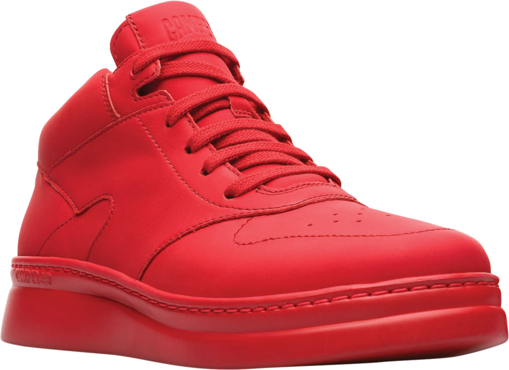 Women's Camper Runner Up Mid Top Sneaker, Red Rubberized Matte Leather, large, image 1