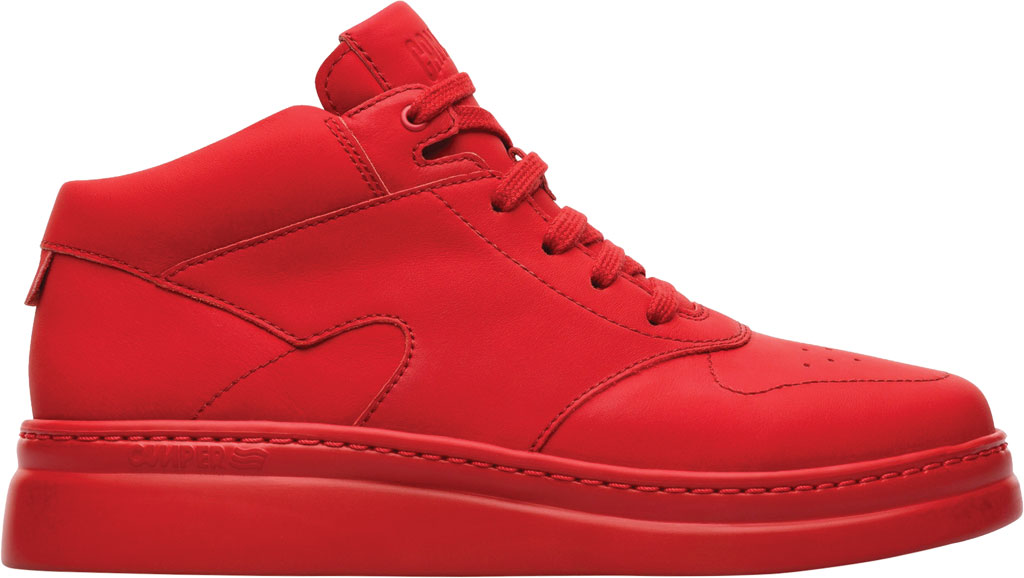 Women's Camper Runner Up Mid Top Sneaker, Red Rubberized Matte Leather, large, image 2
