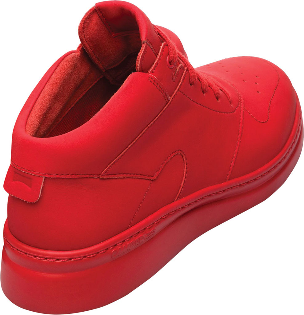 Women's Camper Runner Up Mid Top Sneaker, Red Rubberized Matte Leather, large, image 3