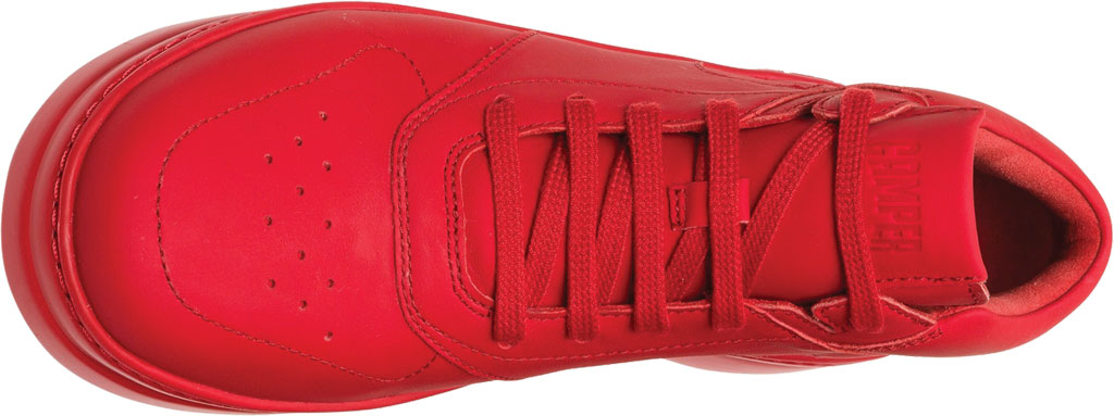 Women's Camper Runner Up Mid Top Sneaker, Red Rubberized Matte Leather, large, image 4