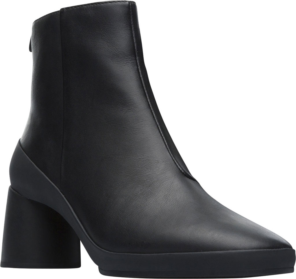 Women's Camper Upright Ankle Boot, Black Smooth Leather, large, image 1