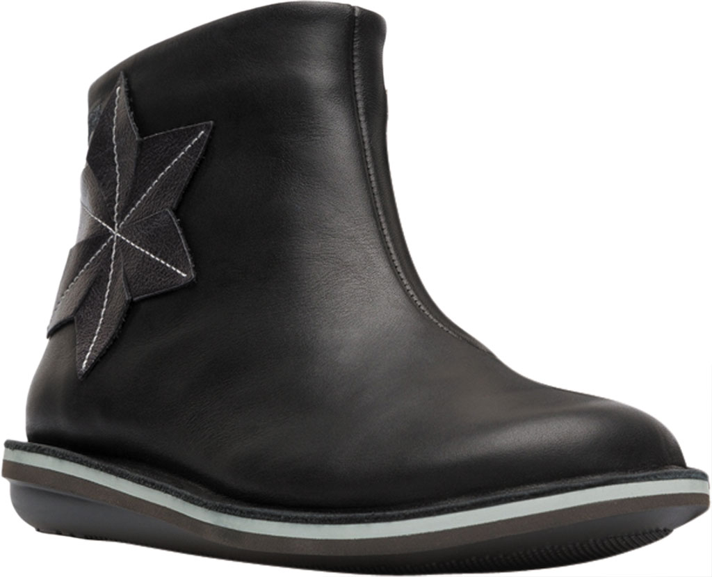 Girls' Camper Twins Zip Ankle Boot - Little Kid, Black Calf Full Grain Leather/Fabric, large, image 1