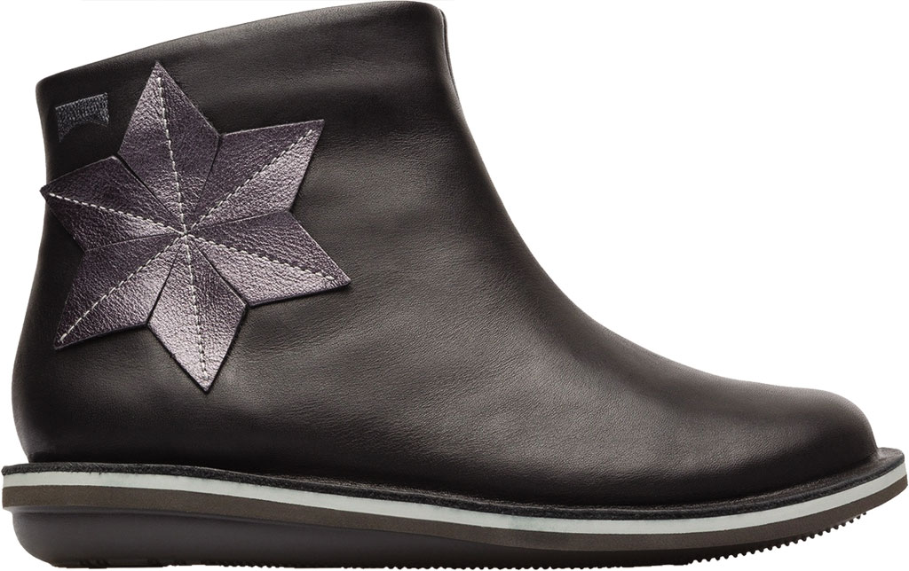 Girls' Camper Twins Zip Ankle Boot - Little Kid, Black Calf Full Grain Leather/Fabric, large, image 2