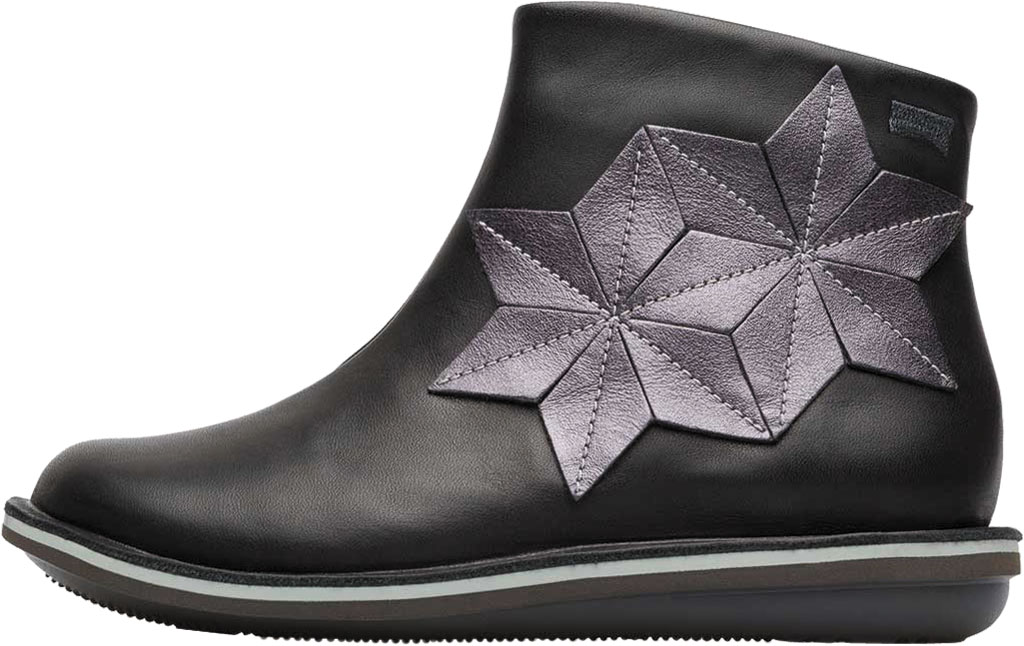 Girls' Camper Twins Zip Ankle Boot - Little Kid, Black Calf Full Grain Leather/Fabric, large, image 3