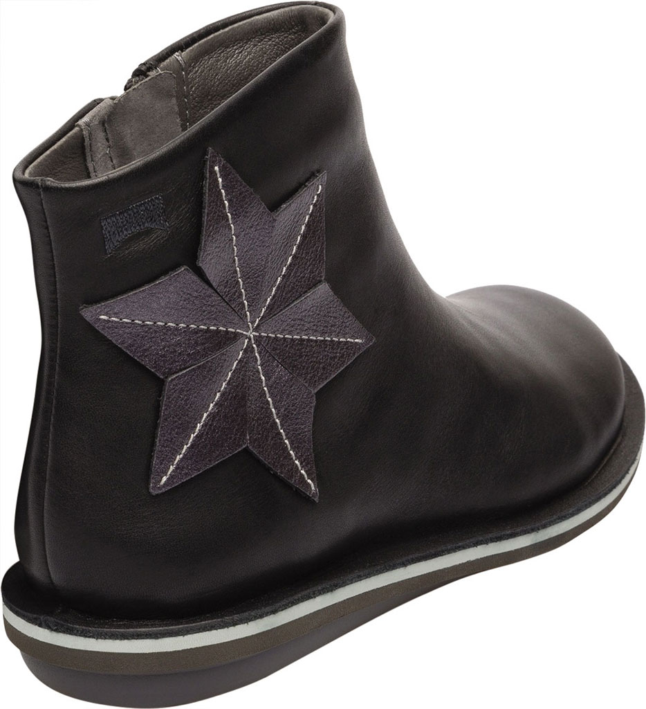 Girls' Camper Twins Zip Ankle Boot - Little Kid, Black Calf Full Grain Leather/Fabric, large, image 4