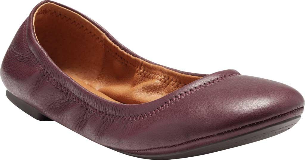 Women's Lucky Brand Emmie Flat, Deep Mahogany Lamba/Cow Leather, large, image 1