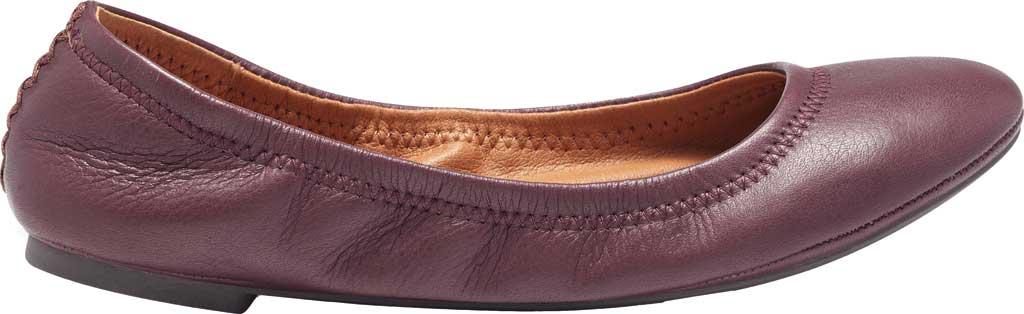 Women's Lucky Brand Emmie Flat, Deep Mahogany Lamba/Cow Leather, large, image 2
