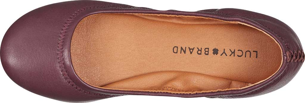 Women's Lucky Brand Emmie Flat, Deep Mahogany Lamba/Cow Leather, large, image 4