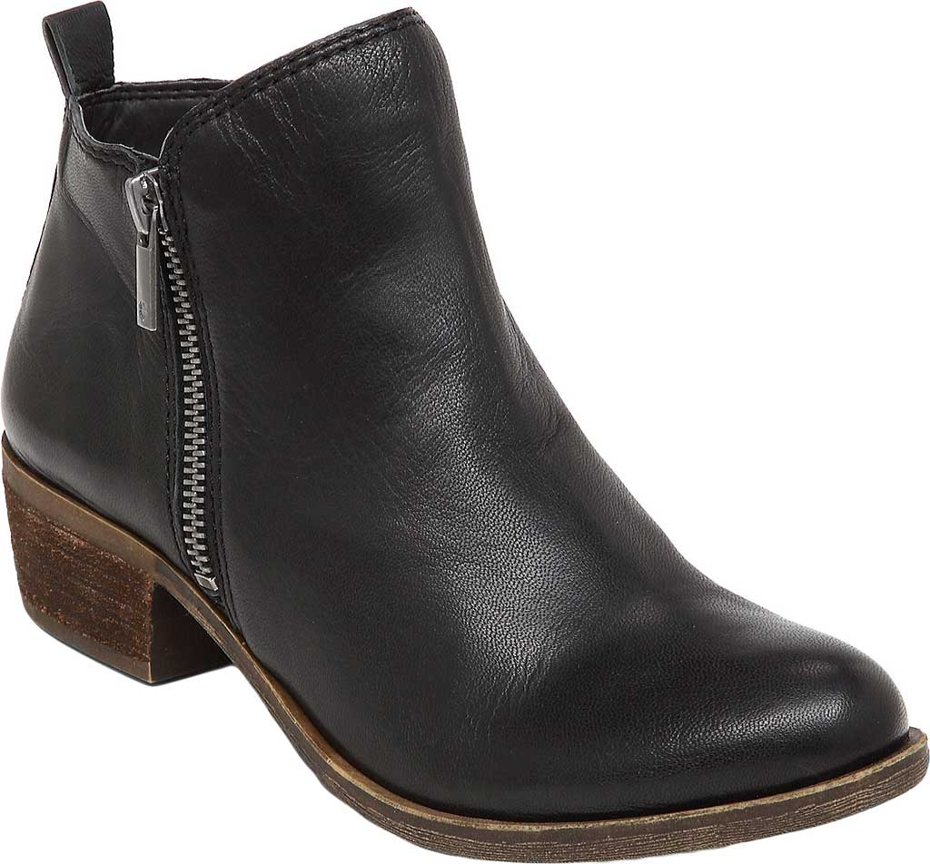 Women's Lucky Brand Basel Bootie, Black Leather, large, image 1