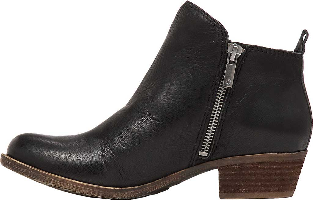 Women's Lucky Brand Basel Bootie, Black Leather, large, image 3