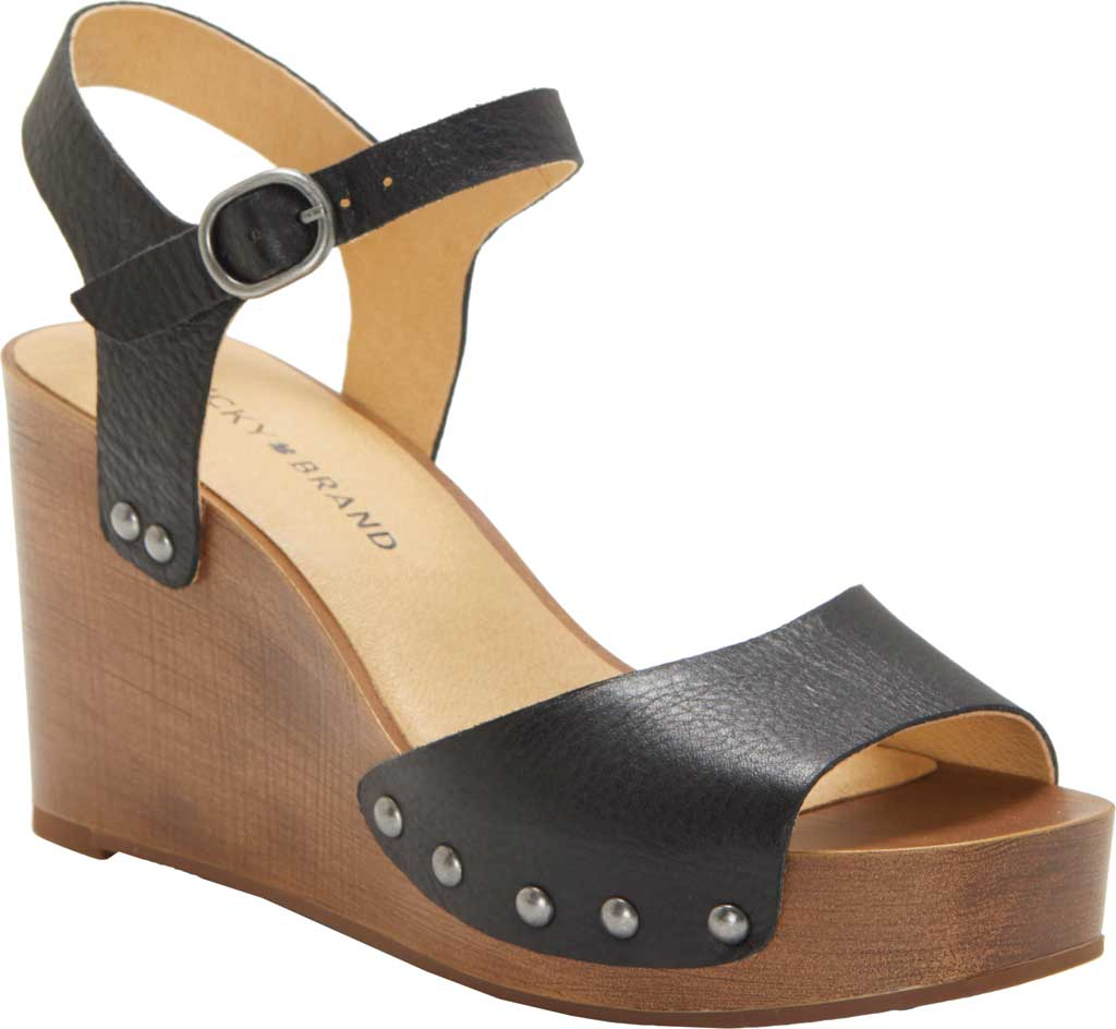 Women's Lucky Brand Zashti Wedge Sandal, Black Vegetable Tumbled Leather, large, image 1
