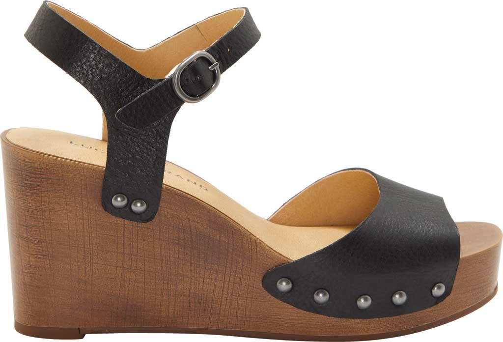 Women's Lucky Brand Zashti Wedge Sandal, Black Vegetable Tumbled Leather, large, image 2