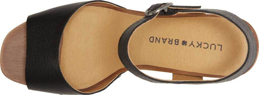 Women's Lucky Brand Zashti Wedge Sandal, Black Vegetable Tumbled Leather, large, image 5